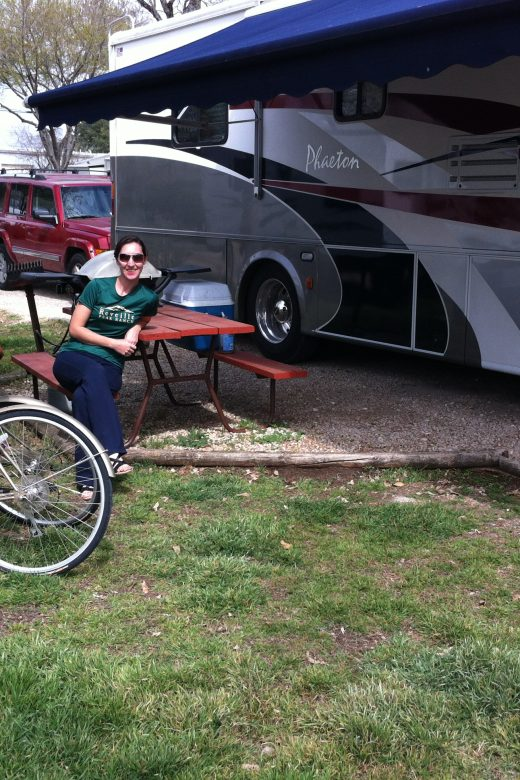 Brittany from RV Wanderlust relaxing at Austin Lone Star Carefree RV