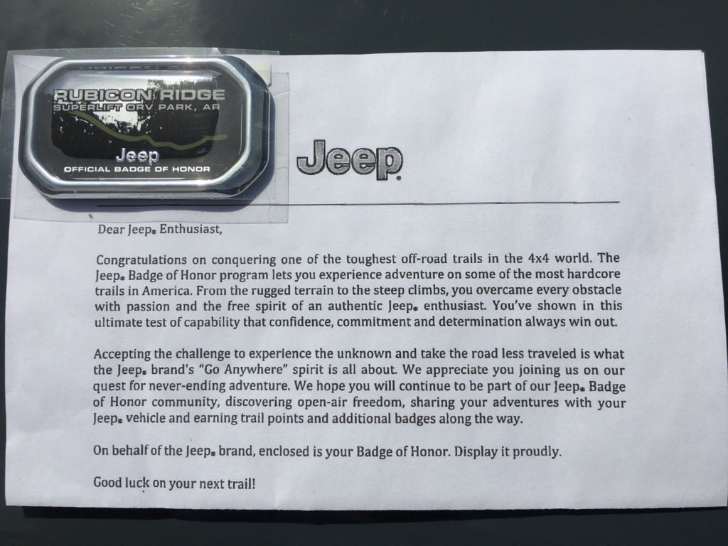Jeep Badge of Honor from Rubicon Ridge