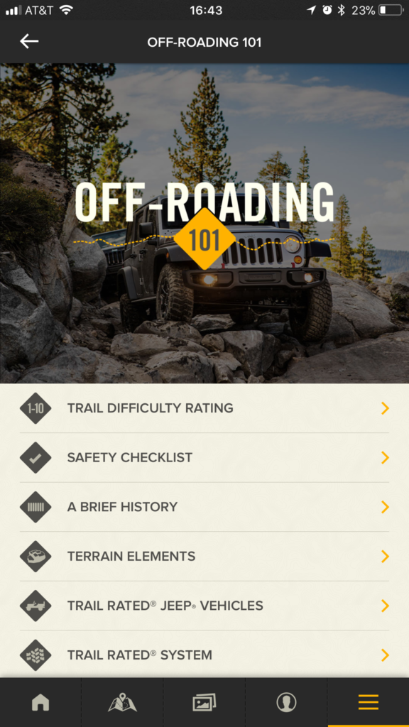 Jeep Badge of Honor app has a information for Jeepers