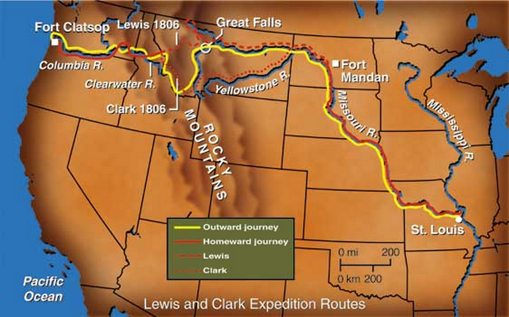 The route of Lewis and Clark