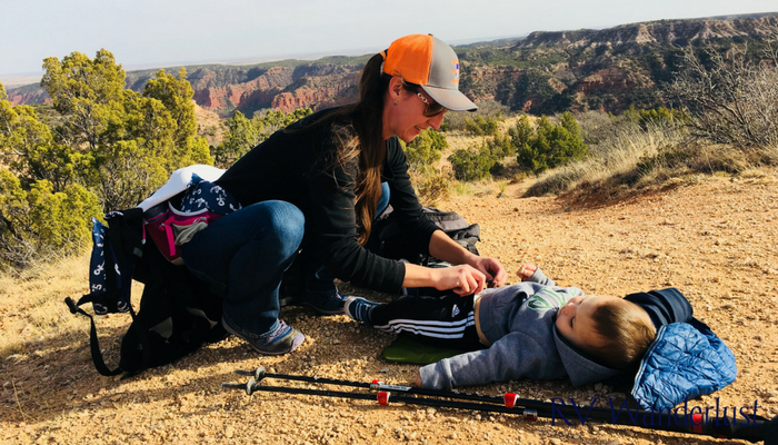 Cloth Diaper Change While Hiking