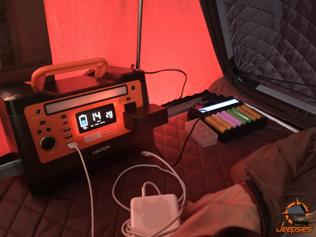 Portable Power Station in Roof Top Tent