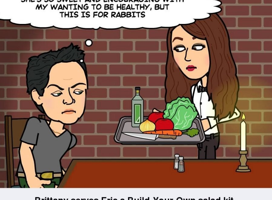 A comic strip of Eric and Brittany trying to eat healthy