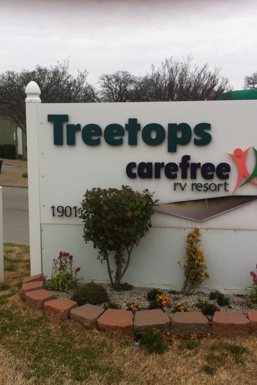 Front sign at Treetops Carefree RV Resort