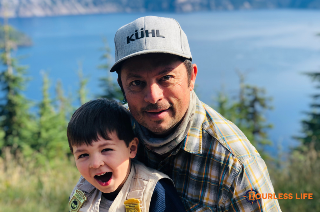 Eric and Caspian Highland at Crater Lake