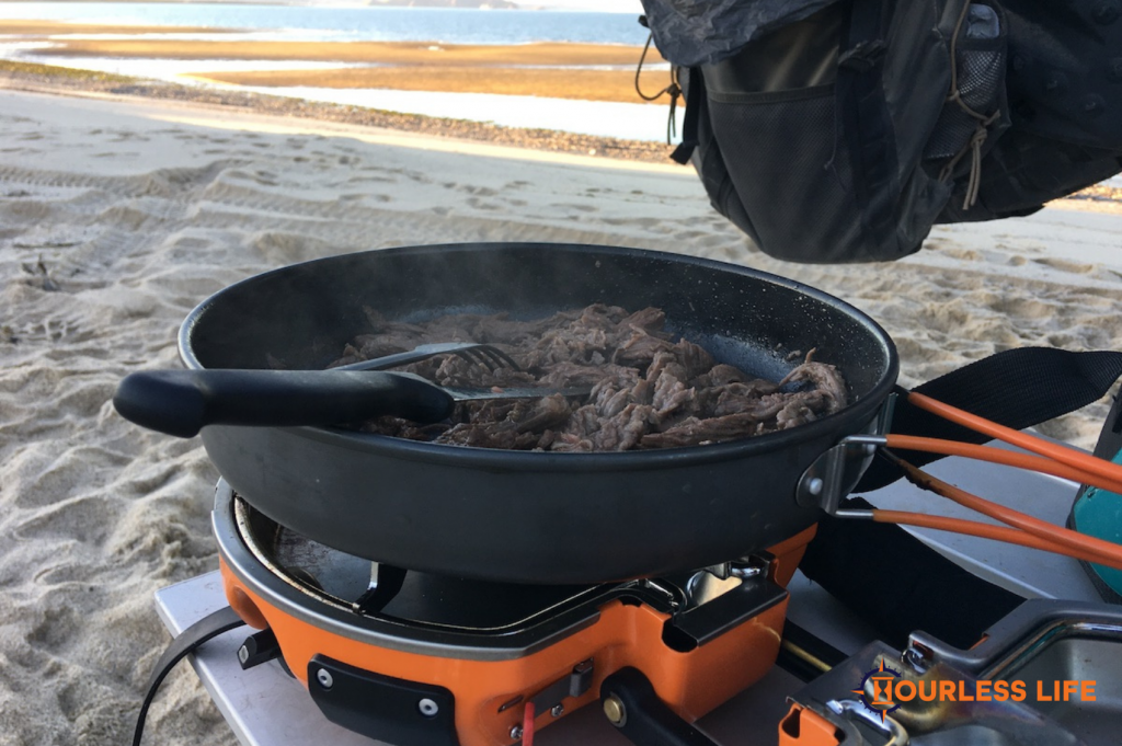 Cooking Taco Meat on Beach in Baja