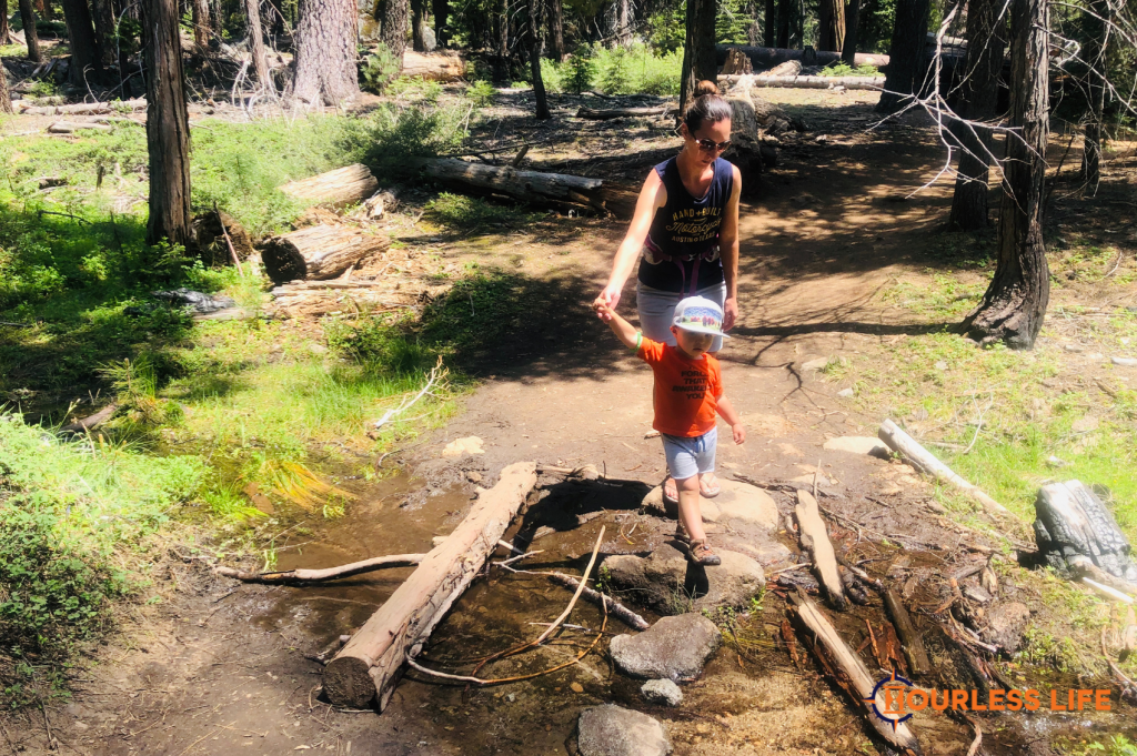 Hiking With Kids Over Creek